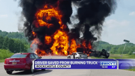 Driver Saved From Burning Truck