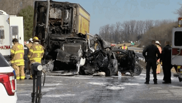 Two Perish In Fiery 12-Vehicle Crash