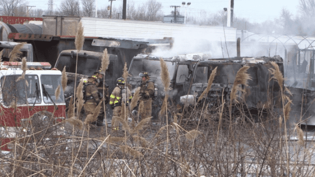 Early Morning Fire Destroys 4 Semis At Flying J