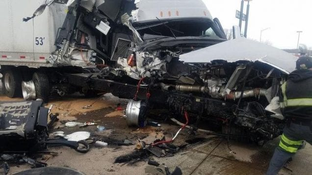 Two Semis Collide In Newport Township, IL