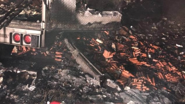 Load of hot dogs torched in fire along I-55