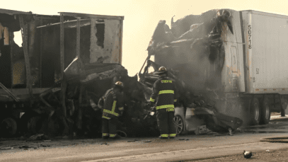2 Dead In Chain Reaction Crash Involving 5 Big Rigs On I-5