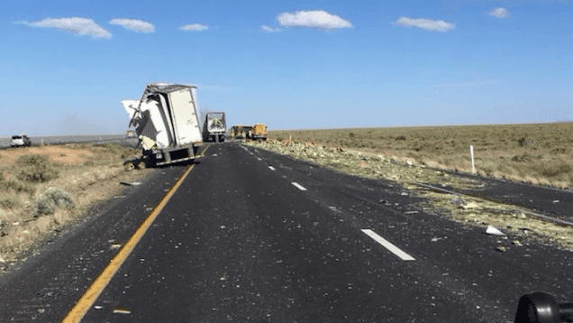 Big rig loses load of produce after sideswiping tractor-trailer parked in emegency lane on I-40
