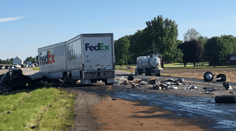 Two-Semi Crash Prompts Police To Evacuate Nearby Residents