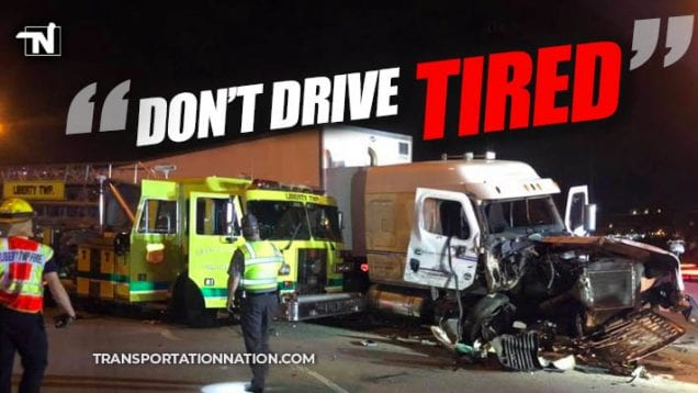 Don't Drive Tired – Three Big Rig and Firetruck Crash