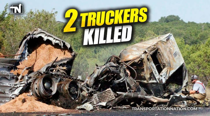 Two Truckers Killed in Fiery Three-Semi Crossover Crash