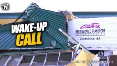 wake-up call – truck smashes into motel