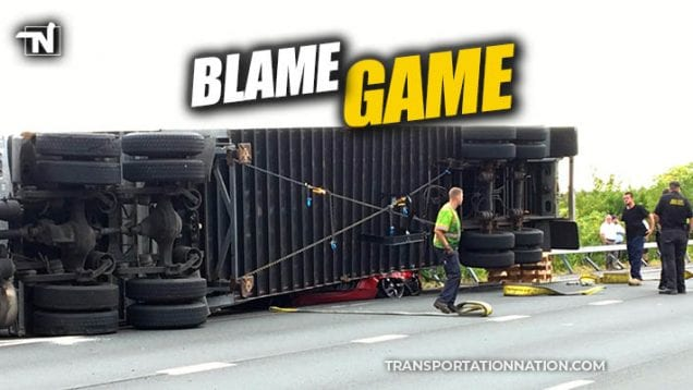 blame game in new york crash between sports car and semi trailer