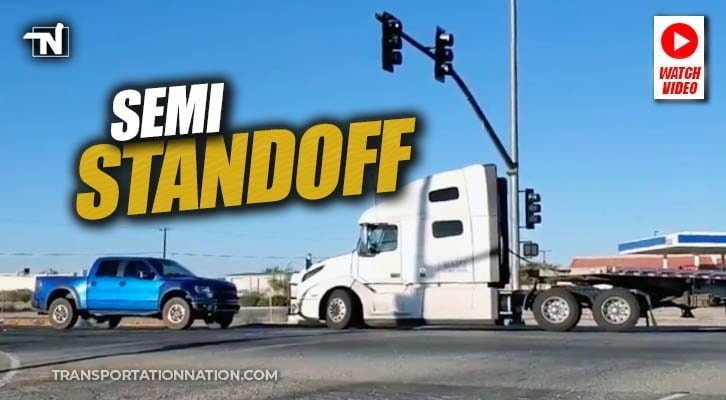 WATCH: Big Rig in Standoff With Pickup Truck Driver Caught