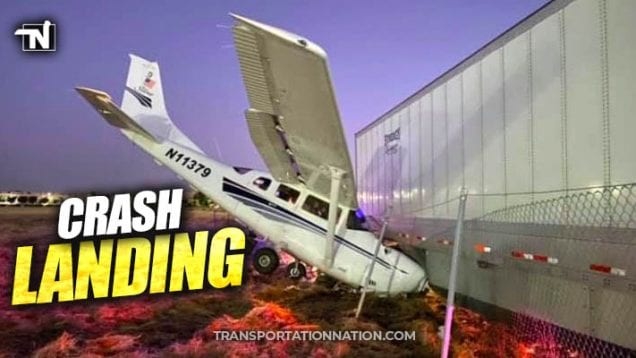 plane crash lands into semi trailer