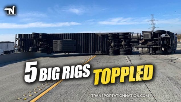 Big Rigs Toppled in California