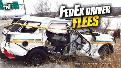 FedEx Driver Flees after crashing into patrol car