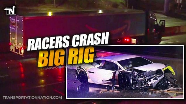 Racers Crash Amazon Truck on 101 Freeway