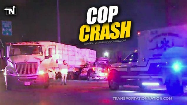 SAPD SUV crashes into flatbed